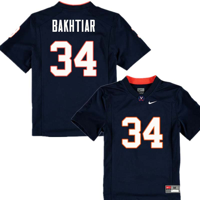 Men #34 Jim Bakhtiar Virginia Cavaliers College Football Jerseys Sale-Navy